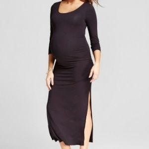 Ingrid & Isabel Maternity Shirred Maxi Dress Black